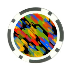 Colorful Shapes On A Black Background Poker Chip Card Guard by LalyLauraFLM
