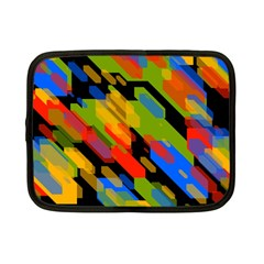 Colorful Shapes On A Black Background Netbook Case (small) by LalyLauraFLM