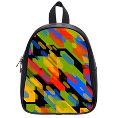 Colorful Shapes On A Black Background School Bag (small) by LalyLauraFLM