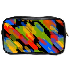 Colorful Shapes On A Black Background Toiletries Bag (two Sides) by LalyLauraFLM