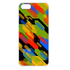 Colorful Shapes On A Black Background Apple Iphone 5 Seamless Case (white) by LalyLauraFLM