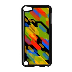 Colorful Shapes On A Black Background Apple Ipod Touch 5 Case (black) by LalyLauraFLM