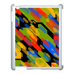 Colorful Shapes On A Black Background Apple Ipad 3/4 Case (white) by LalyLauraFLM