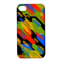 Colorful Shapes On A Black Background Apple Iphone 4/4s Hardshell Case With Stand by LalyLauraFLM