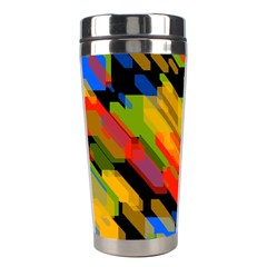Colorful Shapes On A Black Background Stainless Steel Travel Tumbler by LalyLauraFLM