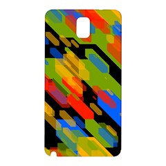 Colorful Shapes On A Black Background Samsung Galaxy Note 3 N9005 Hardshell Back Case by LalyLauraFLM