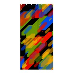 Colorful Shapes On A Black Background Shower Curtain 36  X 72  (stall) by LalyLauraFLM