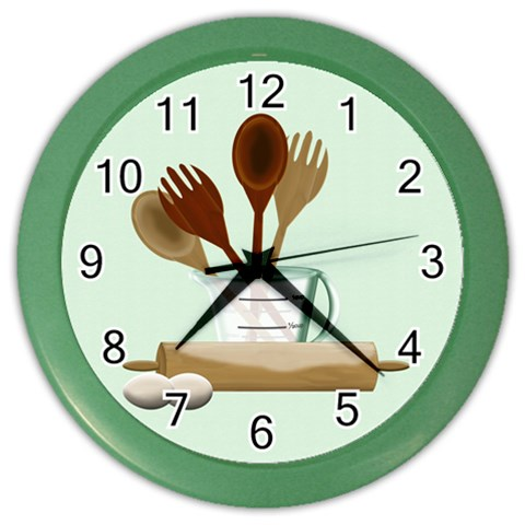 Kitchen Clock Green By Chere s Creations   Color Wall Clock   Bg9wb790ead6   Www Artscow Com Front