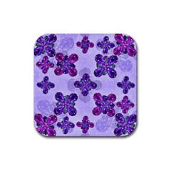 Deluxe Ornate Pattern Design In Blue And Fuchsia Colors Drink Coaster (square) by dflcprints