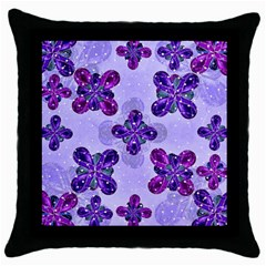 Deluxe Ornate Pattern Design In Blue And Fuchsia Colors Black Throw Pillow Case by dflcprints