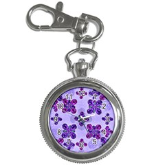 Deluxe Ornate Pattern Design In Blue And Fuchsia Colors Key Chain Watch by dflcprints