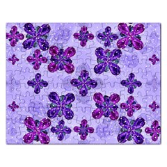 Deluxe Ornate Pattern Design In Blue And Fuchsia Colors Jigsaw Puzzle (rectangle) by dflcprints