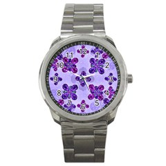 Deluxe Ornate Pattern Design In Blue And Fuchsia Colors Sport Metal Watch by dflcprints