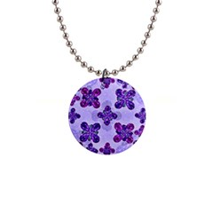Deluxe Ornate Pattern Design In Blue And Fuchsia Colors Button Necklace by dflcprints