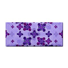 Deluxe Ornate Pattern Design In Blue And Fuchsia Colors Hand Towel by dflcprints