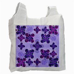 Deluxe Ornate Pattern Design In Blue And Fuchsia Colors White Reusable Bag (two Sides) by dflcprints