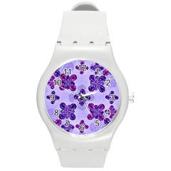 Deluxe Ornate Pattern Design In Blue And Fuchsia Colors Plastic Sport Watch (medium) by dflcprints