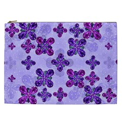 Deluxe Ornate Pattern Design In Blue And Fuchsia Colors Cosmetic Bag (xxl) by dflcprints