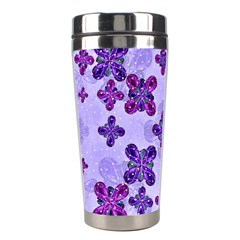Deluxe Ornate Pattern Design In Blue And Fuchsia Colors Stainless Steel Travel Tumbler by dflcprints