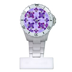 Deluxe Ornate Pattern Design In Blue And Fuchsia Colors Nurses Watch by dflcprints