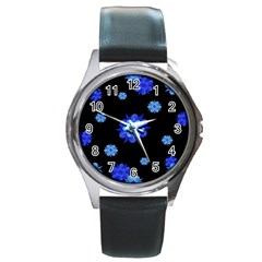 Floral Print Modern Style Pattern  Round Leather Watch (silver Rim) by dflcprints
