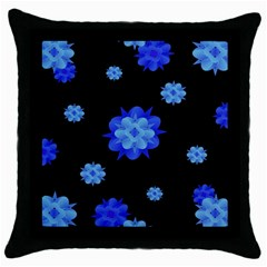 Floral Print Modern Style Pattern  Black Throw Pillow Case by dflcprints