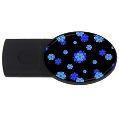 Floral Print Modern Style Pattern  4gb Usb Flash Drive (oval) by dflcprints