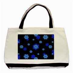 Floral Print Modern Style Pattern  Twin Sided Black Tote Bag by dflcprints