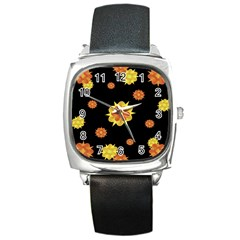 Floral Print Modern Style Pattern  Square Leather Watch by dflcprints