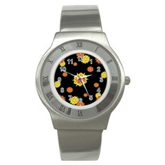 Floral Print Modern Style Pattern  Stainless Steel Watch (slim) by dflcprints
