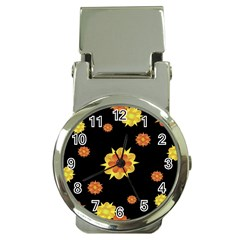 Floral Print Modern Style Pattern  Money Clip With Watch by dflcprints