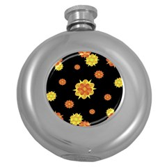 Floral Print Modern Style Pattern  Hip Flask (round) by dflcprints