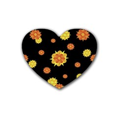 Floral Print Modern Style Pattern  Drink Coasters (heart) by dflcprints
