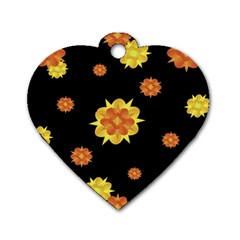 Floral Print Modern Style Pattern  Dog Tag Heart (two Sided) by dflcprints