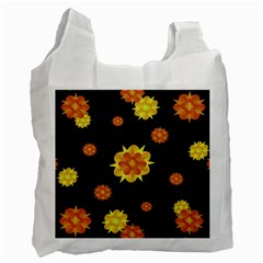 Floral Print Modern Style Pattern  White Reusable Bag (two Sides) by dflcprints