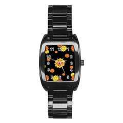 Floral Print Modern Style Pattern  Stainless Steel Barrel Watch by dflcprints