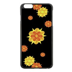 Floral Print Modern Style Pattern  Apple Iphone 6 Plus Black Enamel Case by dflcprints
