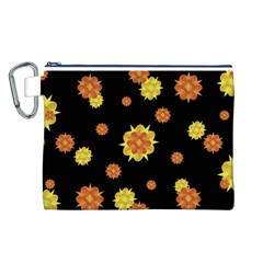 Floral Print Modern Style Pattern  Canvas Cosmetic Bag (large) by dflcprints