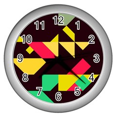 Shapes In Retro Colors 2 Wall Clock (silver) by LalyLauraFLM