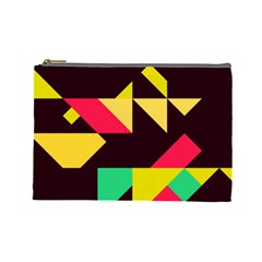 Shapes In Retro Colors 2 Cosmetic Bag (large) by LalyLauraFLM