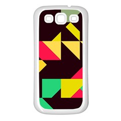 Shapes In Retro Colors 2 Samsung Galaxy S3 Back Case (white) by LalyLauraFLM