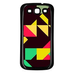Shapes In Retro Colors 2 Samsung Galaxy S3 Back Case (black) by LalyLauraFLM