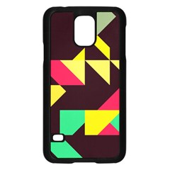 Shapes In Retro Colors 2 Samsung Galaxy S5 Case (black) by LalyLauraFLM