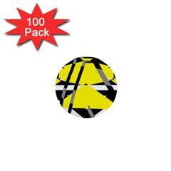 Yellow, Black And White Pieces Abstract Design 1  Mini Button (100 Pack)  by LalyLauraFLM