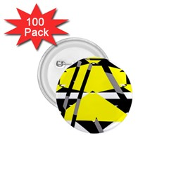 Yellow, Black And White Pieces Abstract Design 1 75  Button (100 Pack)  by LalyLauraFLM