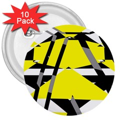 Yellow, Black And White Pieces Abstract Design 3  Button (10 Pack) by LalyLauraFLM