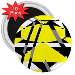 Yellow, Black And White Pieces Abstract Design 3  Magnet (10 Pack) by LalyLauraFLM