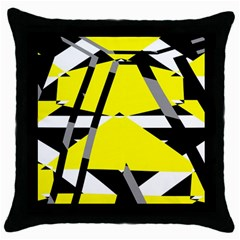 Yellow, Black And White Pieces Abstract Design Throw Pillow Case (black) by LalyLauraFLM