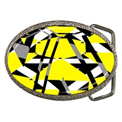 Yellow, black and white pieces abstract design Belt Buckle by LalyLauraFLM