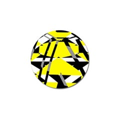 Yellow, Black And White Pieces Abstract Design Golf Ball Marker by LalyLauraFLM